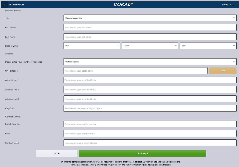 Coral Registration Form